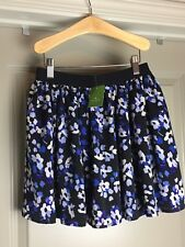 NWT KATE SPADE Girls Black Floral Blue Slipper Flouncy Skirt 10 years MSRP $128