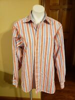 Men's  Bachrach Long Sleeve 100% Cotton Striped Button Front  Dress Shirt  Large