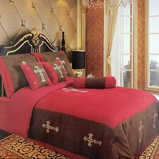 Embroidery Printed Texas Western Cross Luxury Comforter Suede 7 Pieces Set Queen