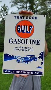 OLD VINTAGE GULF GASOLINE PORCELAIN ENAMEL GAS PUMP HEAVY METAL SIGN MOTOR OIL