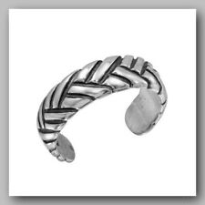 .925 Sterling Silver Braided Mens Toe Ring