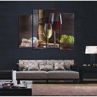 4 Panel HD Red Wine Dessertst Grape Canvas Wall Art Painting Home Modern Decor