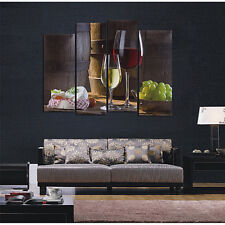 4 Panel HD Red Wine Dessertst Grape Canvas Wall Art Painting Home Modern Decor