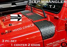 JEEP wrangler TJ black Aluminum Diamond Plate 3 pc.UPPER HOOD COWL SET