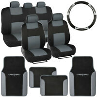 Car Seat Covers Full Bench Set+PU Leather Carpet Floor Mat+Steering Wheel Cover