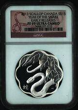 2013 SCALLOP CANADA LUNAR YEAR SNAKE 1 oz Silver S$15 Coin NGC PF69  ULTRA CAMEO