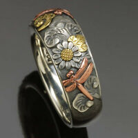 Handmade 925 Silver Tricolor Sunflower Dragonfly Band Ring Jewelry Mother Gifts