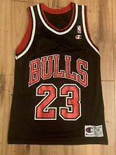 Vintage Champion Chicago Bulls Michael Jordan Jersey Mens Small (36) Black
