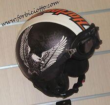 Casco helmet vintage in pelle leather Eagle Aquila per Harley Davidson custom