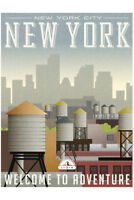 New York City Welcome To Adventure Retro Travel Art Poster 12x18 inch