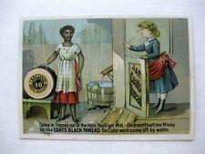 Advertising Trade Card Coats Spool Cotton Black Woman Washing in Rain