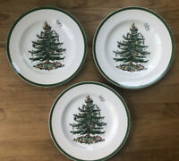 Set of 3 Vintage Spode Christmas Tree  10-1/2-Inch Dinner Plates Made in England