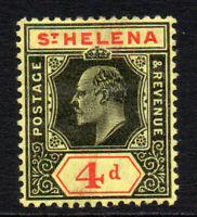 St Helena 4d c1908-11 Mounted Mint Stamp (2491)