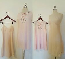 1960s 1950s Vintage Pink Nightgown Size M/L Floral Details and Pale Pink Slip