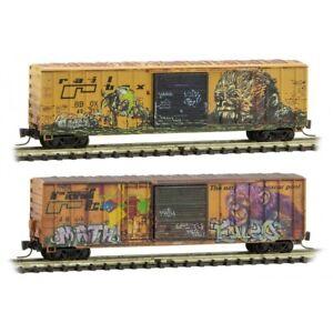 Z Scale Micro-Trains MTL 99405240 RBOX Railbox 50' Box Car 2-Pack w/ Graffiti