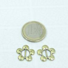 32 Abalorios Hebillas Para Cuero 16mm Flor T483A Doradas Golden Beads Leather