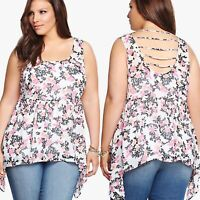 Torrid Sz 4 Floral Babydoll Sharkbite Tank Top White Pink Sheer Plus 4X I22