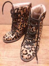 bbdbc37e8edd Diane von Furstenberg Womens Pony Fur Print Ankle Boots Wedge Heels Sz US  5.5M