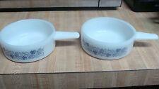 2 Vintage Ovenware J2639 White Milk Glass BLUE FLOWER Soup Bowls Handles 14oz