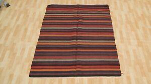 Anatolian floor rug room decor rectangle handmade striped kelim area rug 5X6ft