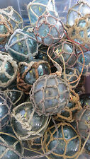 """Japanese Glass Fishing FLOATS 3-3.5"""" Netted LOT-10 Net Buoy Authentic Vintage!"""