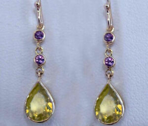 Genuine Solid 9ct Yellow Gold NATURAL Citrine & Amethyst Tear- Drop Earrings