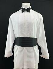 Stafford Mens Loose Tuxedo Shirt with Black Tie and Cumber Bun Set 171/2  34-35