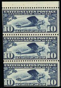 C10a, Mint Lightly Hinged 10¢ Lindbergh Booklet Pane Cat $70.00 -- Stuart Katz