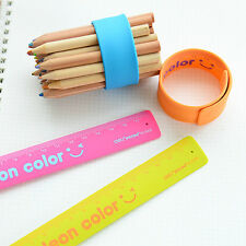 Popular Candy Color Portable Silicone Slap Bracelet Ruler Wristband School Rule