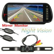 Wireless 7'' LCD Mirror Monitor + License Plate IR Rear View Reversing Camera
