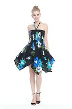 Tropical Hawaiian Luau Dress Cruise Gypsy Uneven Beach Black Blue Turquoise