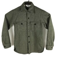 Woolrich Outdoors Vintage 60's Green Shirt Jacket D-Pocket Shirt Wool Blend USA