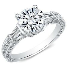 1.45 Ct. Round and Baguette Diamond Engagement Ring G, VS2 EGL Vintage Inspired