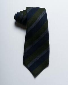 """Kiton Napoli $300 NWT Green Blue Gray Diagonal Striped 100% Wool Thick Tie 3.7"""""""