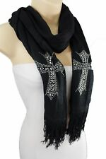 New Women Soft Scarf Necklace Black Fabric Fashion Silver Rhinestone Cross Beads