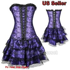 Popular Black/Red/Purple Lace Up Boned Overbust Strapless Corset +Mini Skirt 3Pc