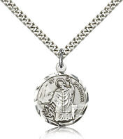 "Saint Patrick Medal For Men - .925 Sterling Silver Necklace On 24"" Chain - 30..."