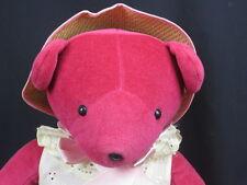 VINTAGE 1979 NORTH AMERICAN BEAR CO. SPRING TEDDY EYELET DRESS STRAW HAT PLUSH