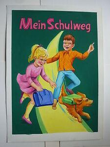 """Originalzeichnung """"Mein Schulweg"""" Titelbild Pestalozzi Schwager & Steinlein 1960"""