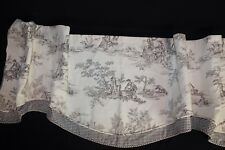 "French Country Scalloped Lenoxdale Valance Checked Lined Cream 32""x16 1/2"""