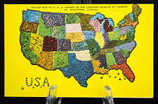 Postcard Button Map of USA Exhibit in the Lightner Museum St Augustine FL Linen