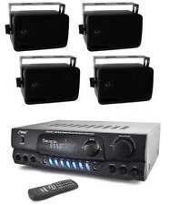 Pyle Pt265Bt 200 Watt Bluetooth Stereo Receiver + 4) Plmr24B Outdoor Speakers