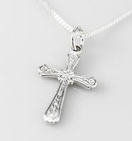 Echt 925 Sterling Silber Kette mit Anhänger Silber Kreuz