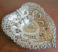 "Gorham Chantilly Sterling Silver 9.5"" Repousse Heart Shaped Bowl #965, 280 grams"