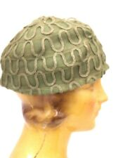 "Antique Horsehair Cloche Hat 1920s Green Art Deco Womens 23"" Head"