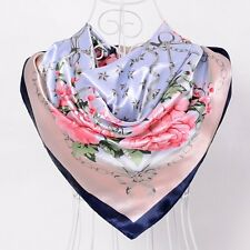 Foulard 90 X 90 cm 100% Soie Fleurs Rose Pivoine SILK SCARF  séide Flower Peony