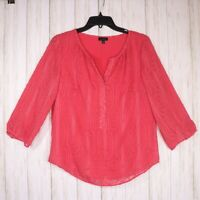 Talbots Pink Textured Blouse Womens Size Small VNeck Sheer 3/4 Sleeve Boho Top