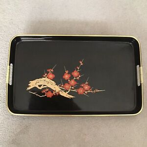 VINTAGE MID CENTURY BLACK LACQUER WARE SERVING TRAY RED ORANGE FLOWERS JAPAN