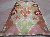 "Vintage Anatolian Turkish Antalya Barak Kilim Wool 64,5""X117,7"" Area Rug Carpet"