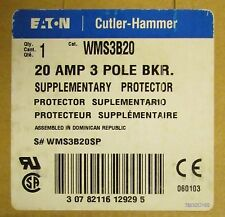 Eaton Cutler Hammer Supplementary Protector Breaker 3 Pole 20 Amp Wms3B20